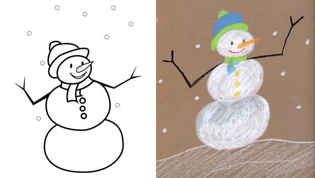 Comment dessiner un bonhomme de neige les carnets de c leste - Comment dessiner un flocon de neige facile ...