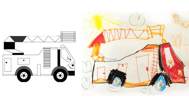 Comment dessiner un camion pompier les carnets de c leste - Dessin d un camion de pompier ...