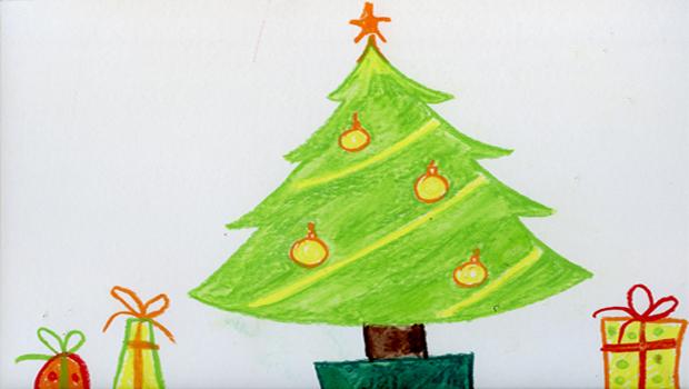 Comment dessiner un sapin de no l et quelques cadeaux les carnets de c leste - Sapin a dessiner ...