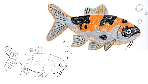Comment dessiner un poisson ko les carnets de c leste - Dessin de poisson facile ...