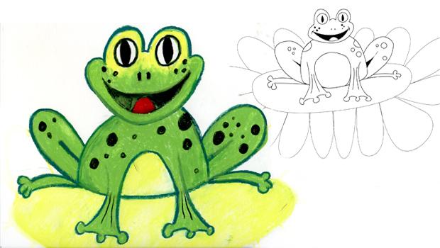 Comment dessiner une grenouille verte les carnets de c leste - Dessin de grenouille a imprimer ...
