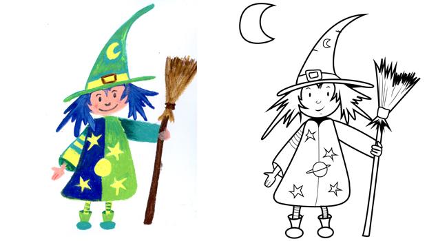 Comment dessiner une sorci re les carnets de c leste - Faire une sorciere pour halloween ...